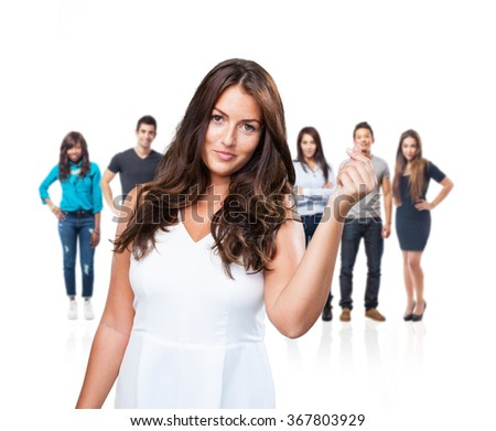 pretty young woman holding gesture - stock photo