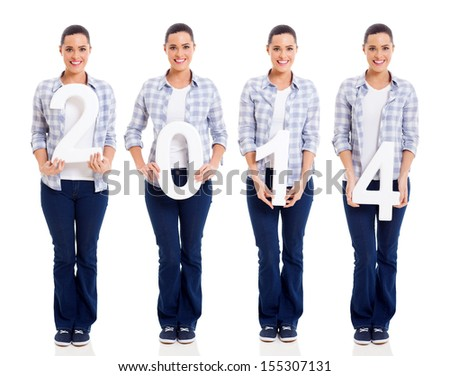 pretty young woman holding numbers of 2014 isolated on white