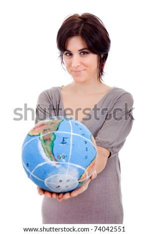 pretty young woman holding the world in her hands