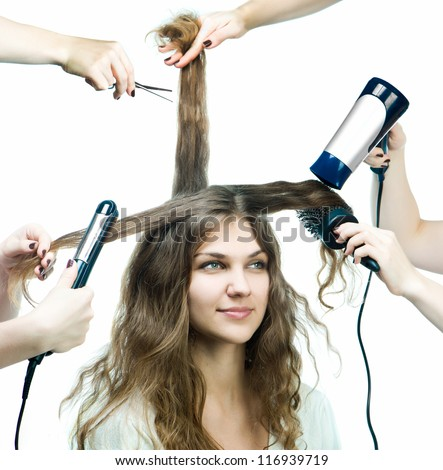 Pretty young woman in a beauty salon - stock photo