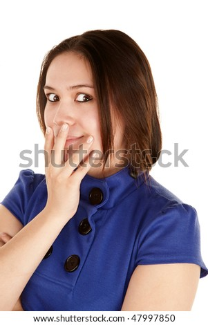 Pretty young woman in a blue dress - stock photo