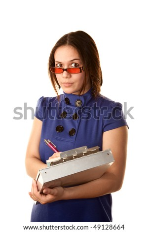 Pretty young woman in a blue dress with clipboard - stock photo