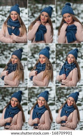 Pretty young woman in a winter fashion shot. Winter wild girl on snow. Winter Girl with beautiful make up, snow flakes on forest background. Portrait of attractive blonde girl - outdoor shot - stock photo