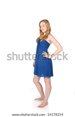 pretty young woman in blue - stock photo