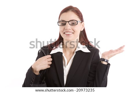 Pretty young woman in business attire waving her hand - stock photo