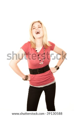 Pretty young woman in casual clothes laughing