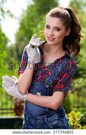pretty young woman in garden