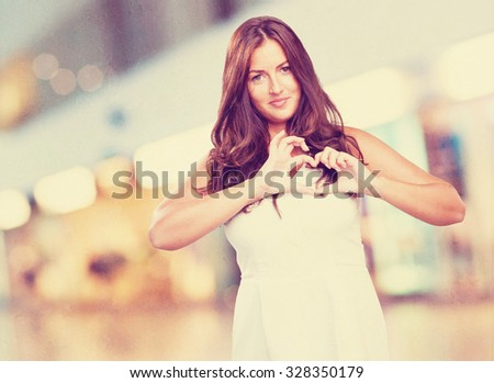 pretty young woman in love - stock photo
