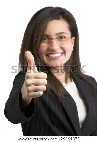 Pretty young woman in suit giving thumbs up - stock photo