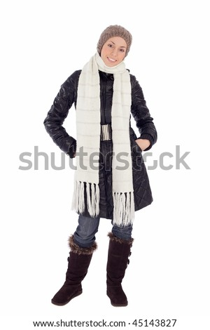 Pretty young woman in warm winter clothes, isolated on white. - stock photo