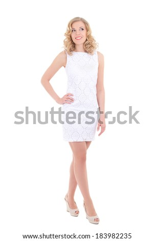 pretty young woman in white dress posing isolated on white background - stock photo