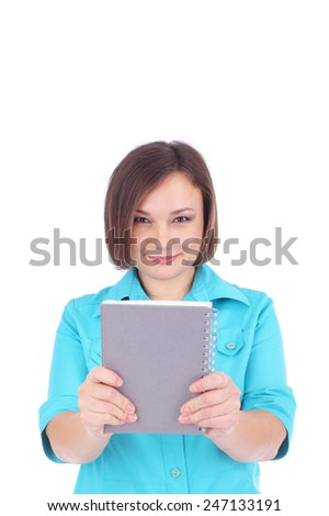 pretty young woman offering grey writing book