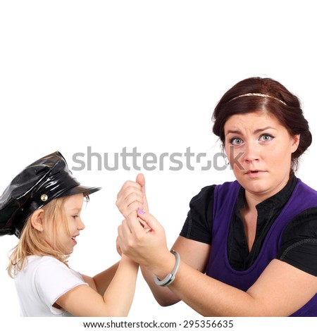 pretty young woman playing with the cute little child - stock photo