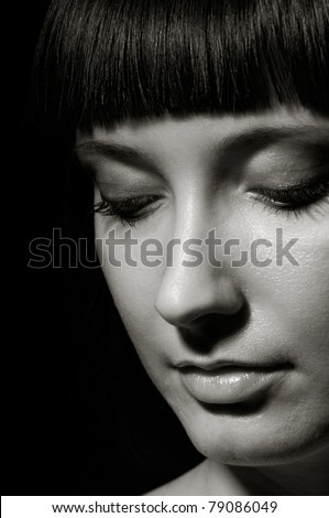 Pretty young  woman portrait (black and white image)