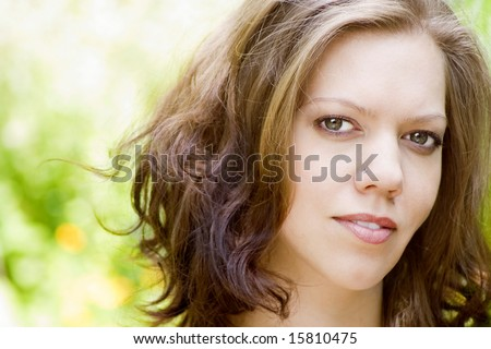 Pretty young woman portrait, outdoor ,nature background