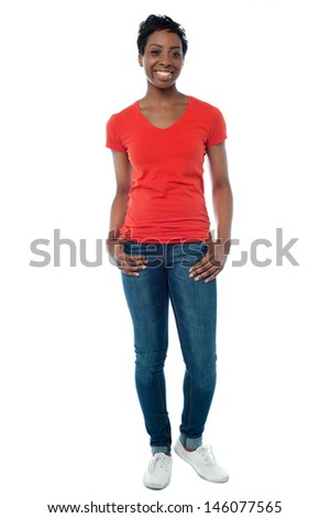 Pretty young woman posing casually - stock photo