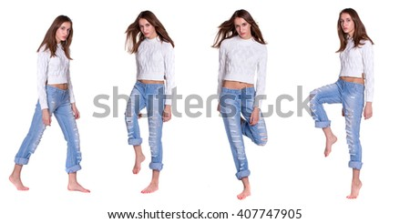 Pretty young woman posing in blue jeanse barefoot - stock photo