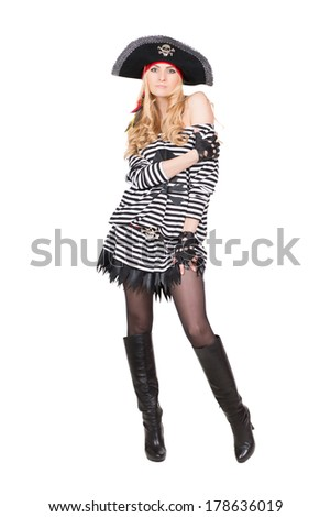 Pretty young woman posing in pirate costume. Isolated on white - stock photo