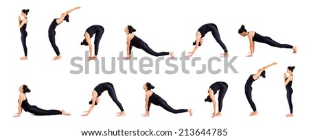 Pretty young woman practicing yoga - stock photo