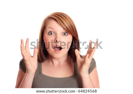 Pretty young woman shocked - stock photo