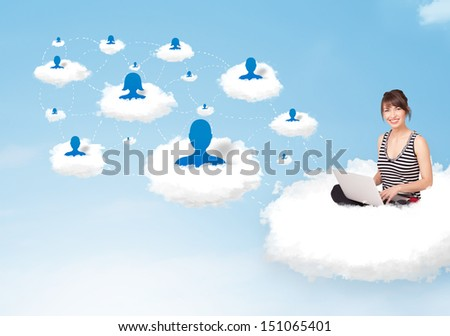 Pretty young woman sitting in cloud with laptop, social network concept - stock photo