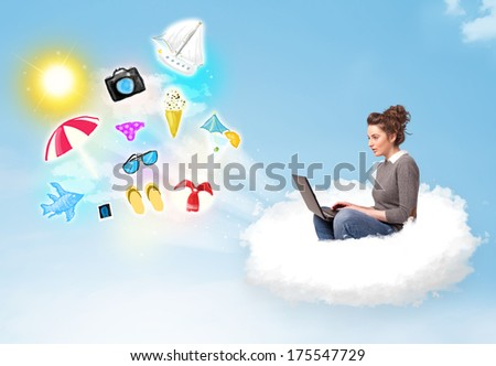 Pretty young woman sitting in cloud with laptop, summer travel concept