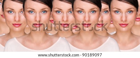 Pretty young woman standing with her clones against white background. Business cloning concept or rejuvenation with stem cells concept - stock photo