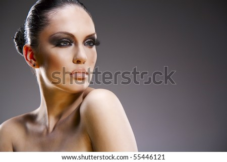 Pretty young woman studio stylish portrait - stock photo
