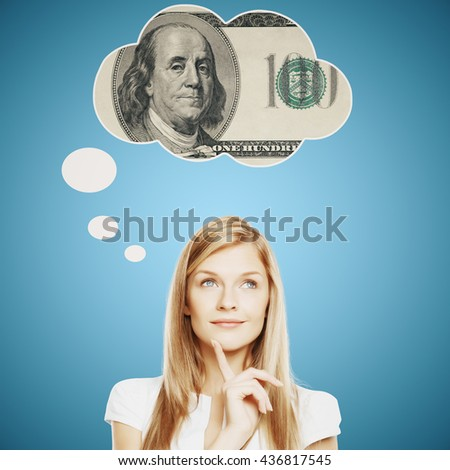 Pretty young woman thinking about money on bright blue background - stock photo