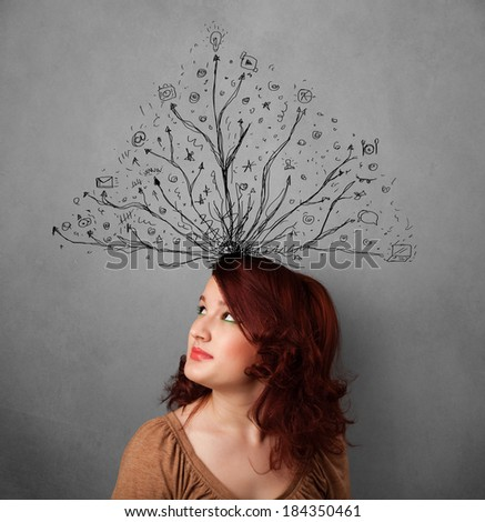 Pretty young woman thinking with tangled lines coming out of her head - stock photo