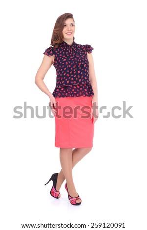 pretty young woman wearing a beautiful costume - stock photo