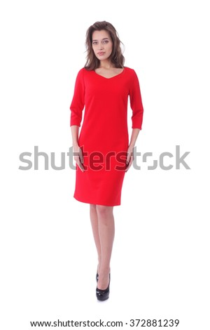 pretty young woman wearing red dress - stock photo