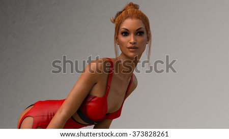 pretty young woman wearing red lingerie - stock photo