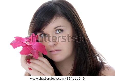 pretty young woman with a flower / pretty woman - stock photo