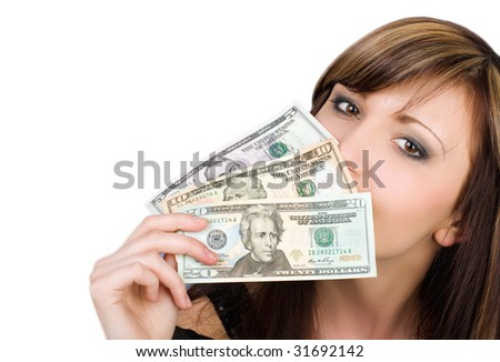 Pretty young woman with American dollars isolated on white