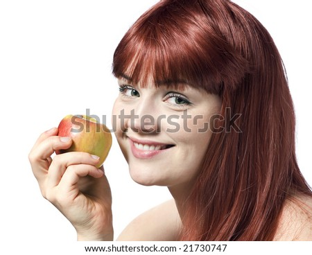 Pretty young woman with apple isolated over white background - stock photo