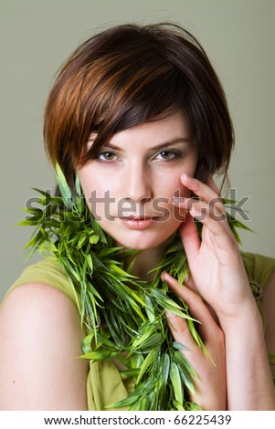 Pretty young woman with short hair - stock photo