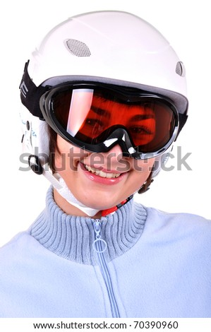 Pretty young woman with ski helmet