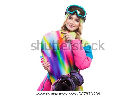 pretty young woman with snowboard, isolated on white, turned