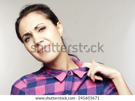 Pretty young woman with tightness collar - stock photo