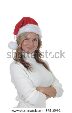 Pretty Young women with a Christmas Santa Hat - stock photo