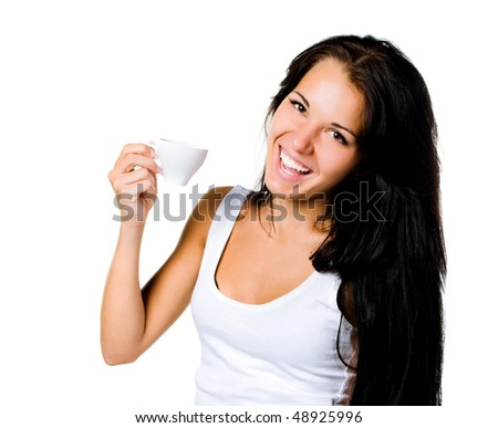 Pretty young women with the cup of coffe on white - stock photo