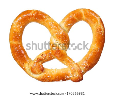 pretzel isolated on white background. salt and soft - stock photo
