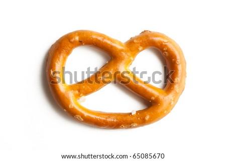 pretzel on white background - stock photo