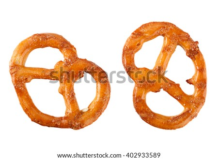 Pretzel snack with sesame isolated on white background