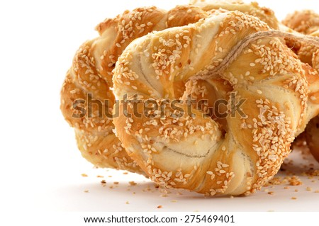 Pretzel with sesame and salt - stock photo