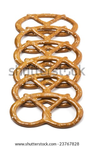 Pretzels in a row on white