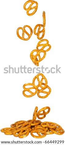 pretzels shot as if falling from above - stock photo