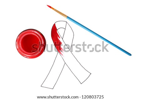 Prevent AIDS.  AIDS ribbon next to a pot of paint and paint brush - stock photo