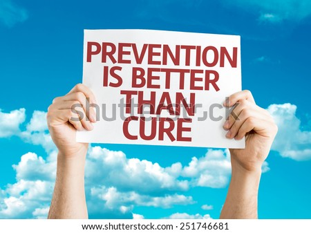 Prevention is Better than Cure card with sky background - stock photo
